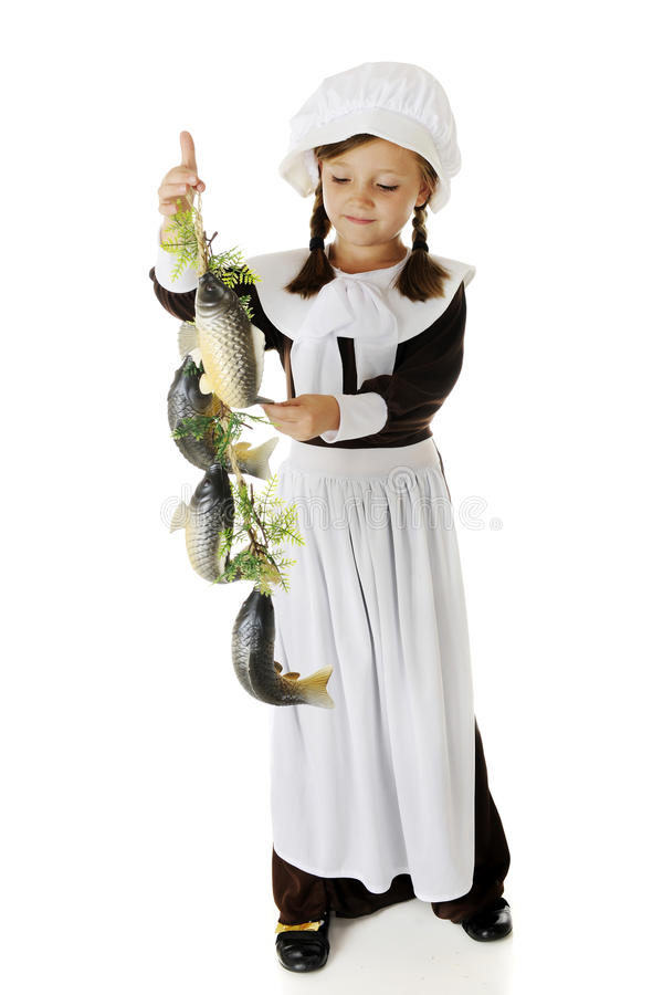 Pilgrim Girl Admiring Fish Stock Images