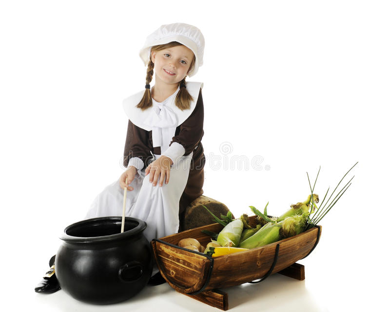Pilgrim Girl Stirring the Pot stock photography