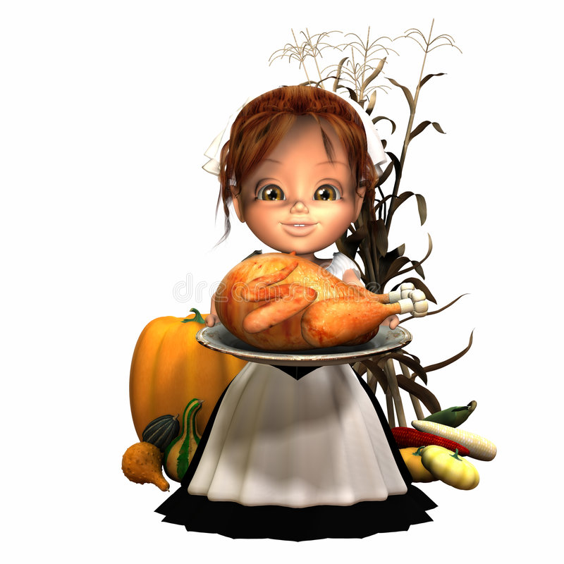 Pilgrim Girl with Turkey. And various harvest fruits and vegetables. Isolated on a white background vector illustration