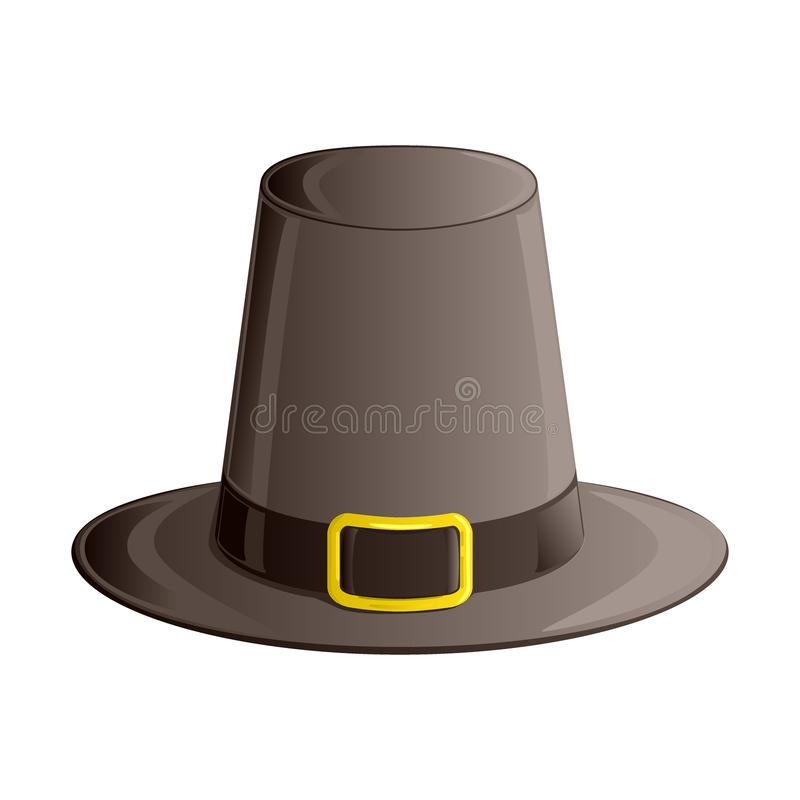 Pilgrim hat with ribbon and golden buckle. Autumn and Thanksgiving Day symbol. Isometric, 3d icon isolated on white background. Ve vector illustration