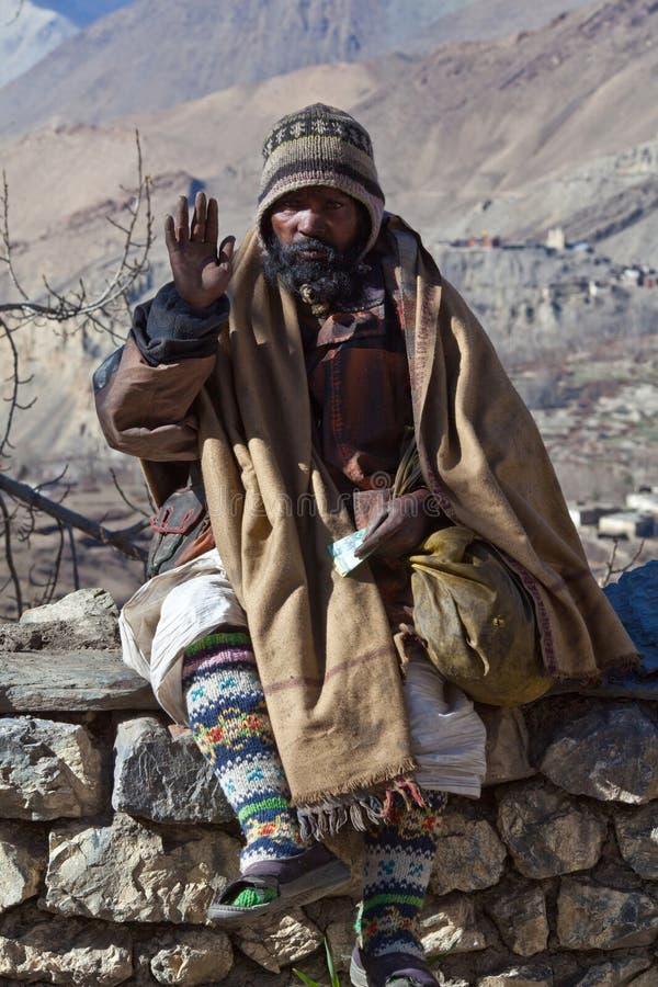 Pilgrim in the Muktinath, Nepal stock photography