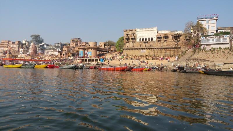Pilgrim place  River ganga and Varanasi royalty free stock photos