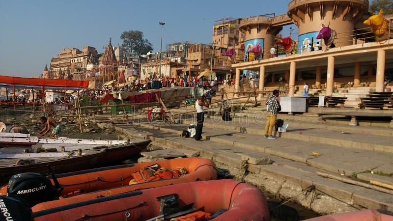 Pilgrim place  River ganga and Varanasi stock images
