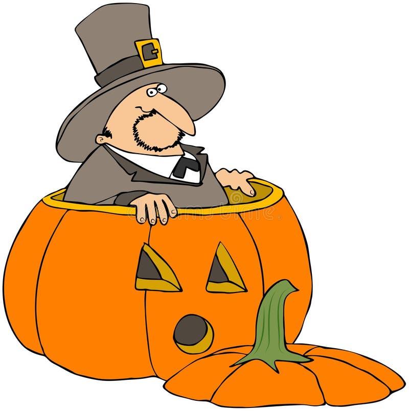 Download Pilgrim In A Pumpkin stock illustration. Illustration of pumpkin - 14279233