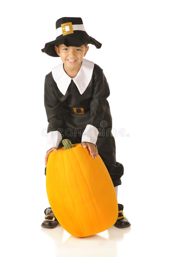 Pilgrim with Pumpkin royalty free stock images