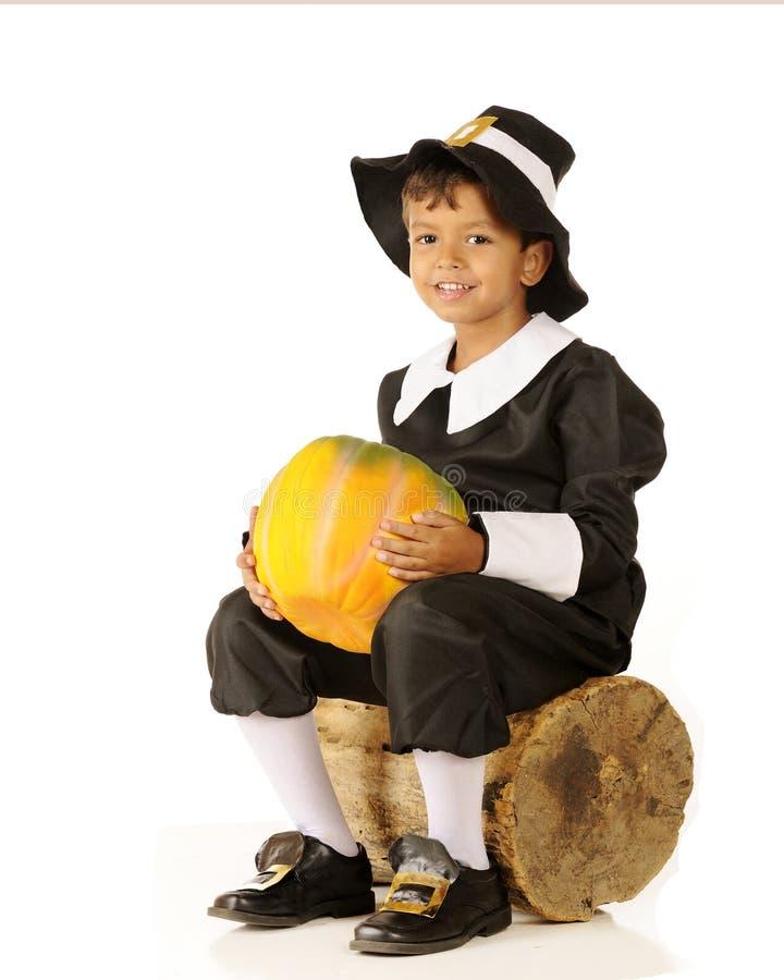Pilgrim with Pumpkin stock image