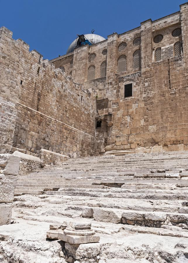 Pilgrim Steps at the Southern End of the Western Wall in Jerusalem. The pilgrim stairs that led to the temple mount at the southern end of the western wall in royalty free stock image