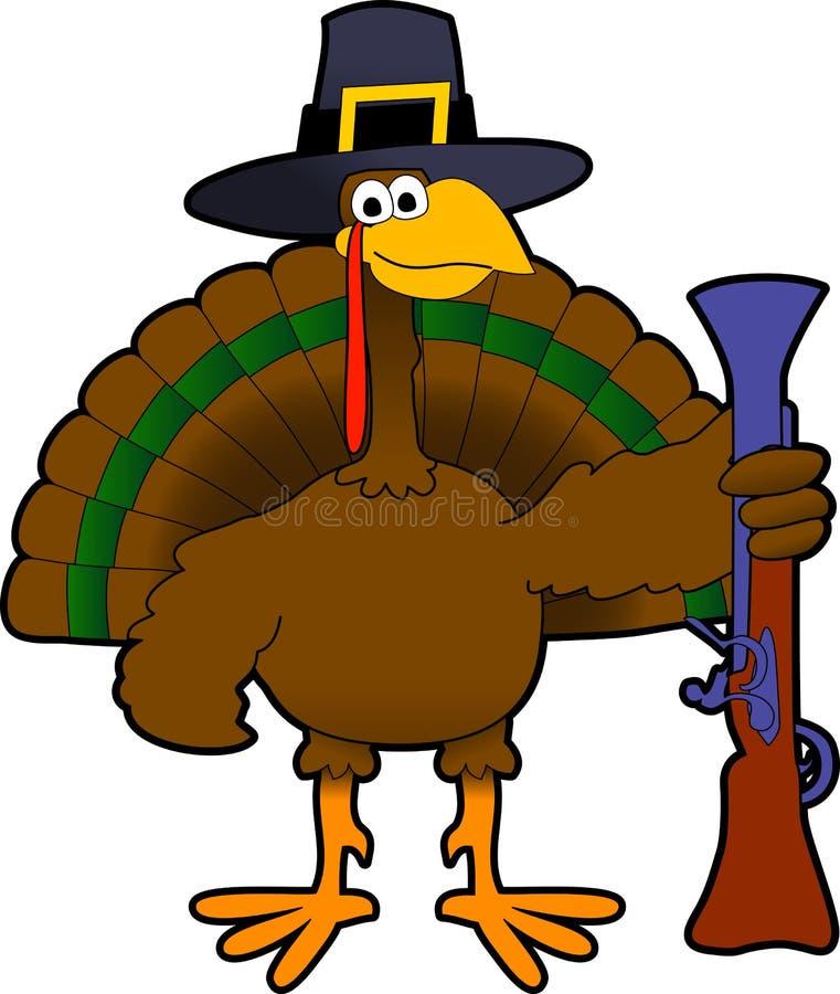 Pilgrim_turkey. Raster cartoon graphic depicting Thanksgiving Day turkey stock illustration