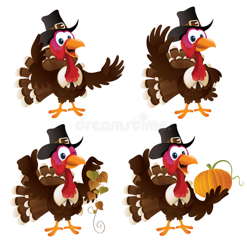 Free Pilgrim Turkey Set Royalty Free Stock Photo - 16854465