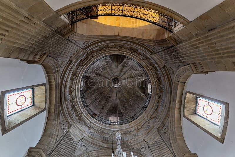 Pilgrim Virgin Shrine. Interior of the temple. Vault detail. Pilgrim Virgin Shrine. Pontevedra, Spain. Pontevedra, Spain - August 17, 2019: Pilgrim Virgin Shrine stock images