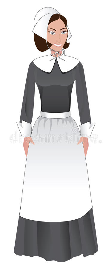 Pilgrim Woman stock illustration