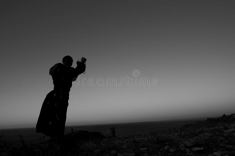Pilgrimage. Morning, that Tibetan Buddhism followers to worship the way in stock photos