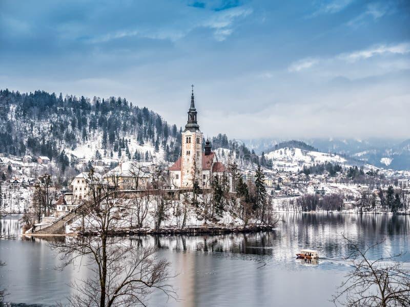 St Mary Church on Bled island, Slovenia royalty free stock photo