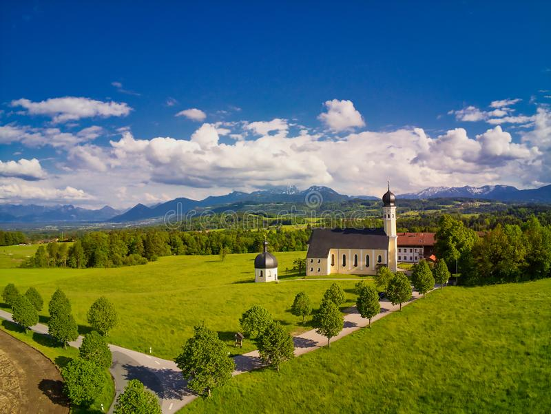 Pilgrimage Church Irschenberg Wilparting with mountain view royalty free stock photo