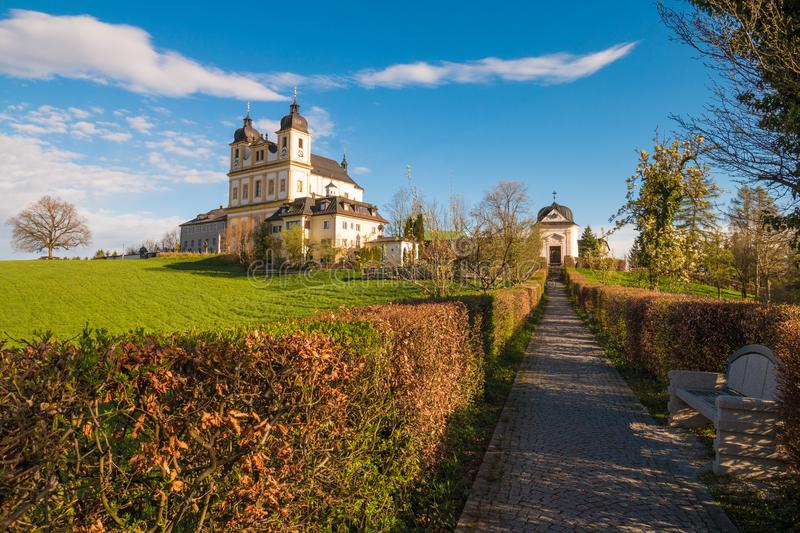 Pilgrimage church Maria Plain on Plainberg in Bergheim bei Salzburg, Austria. Mozart sometimes played music at Maria Plain during Sunday mass royalty free stock image