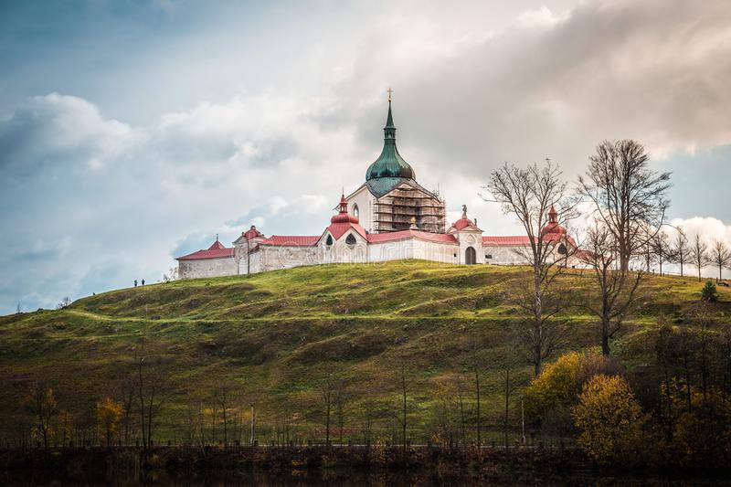 The pilgrimag church on Zelena Hora - Green Hill - Monument UNESCO. St. Jan Nepomucky Church panorama in autumn scene royalty free stock photography