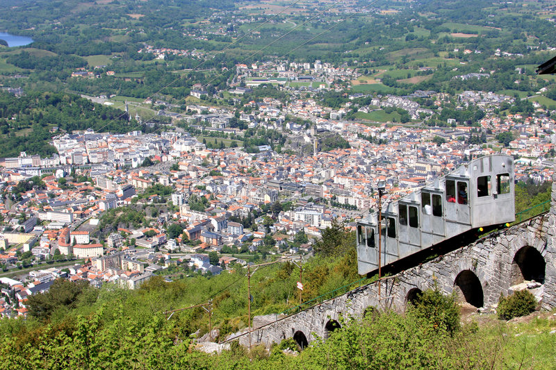 The pilgrimage town of Lourdes from the Pic du Jer. A 100-year-old chair-lift goes up- and downstairs between the summit of the Pic du Jer in the french Pyrenees stock images