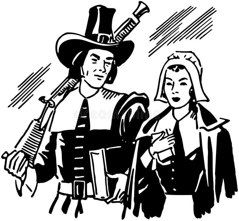 Pilgrims royalty free illustration