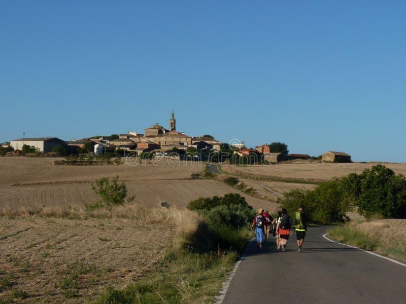 Pilgrims along the way of St. James. People walking on Camino de Santiago. Spain royalty free stock image