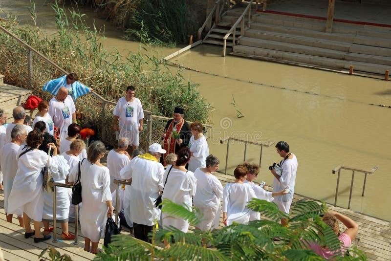 Pilgrims at the Baptism Site Qasr el Yahud stock photos