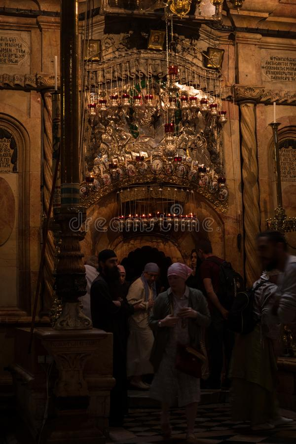 Pilgrims at the Church of the Holy Sepulchre royalty free stock photography