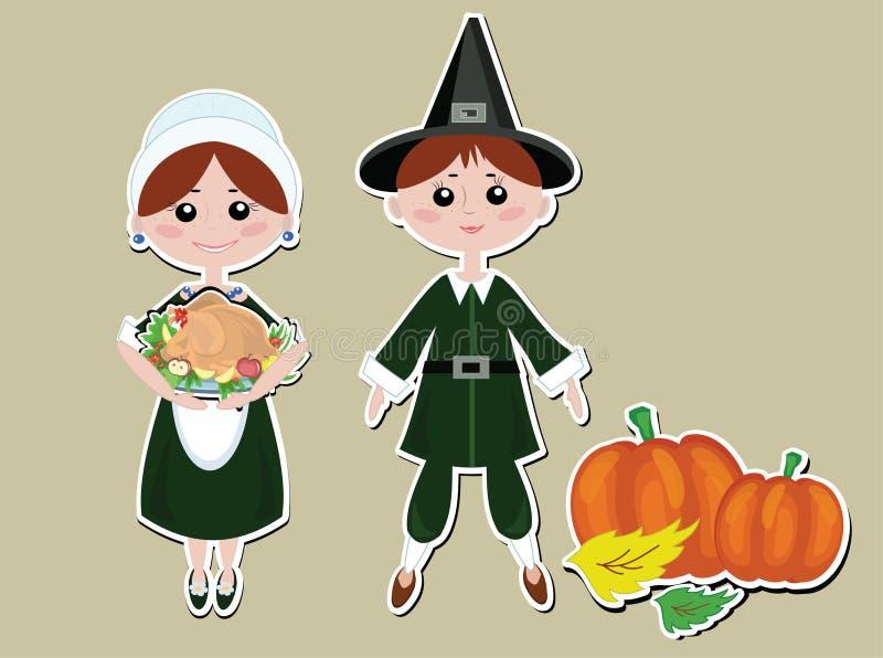 Pilgrims couple stock illustration