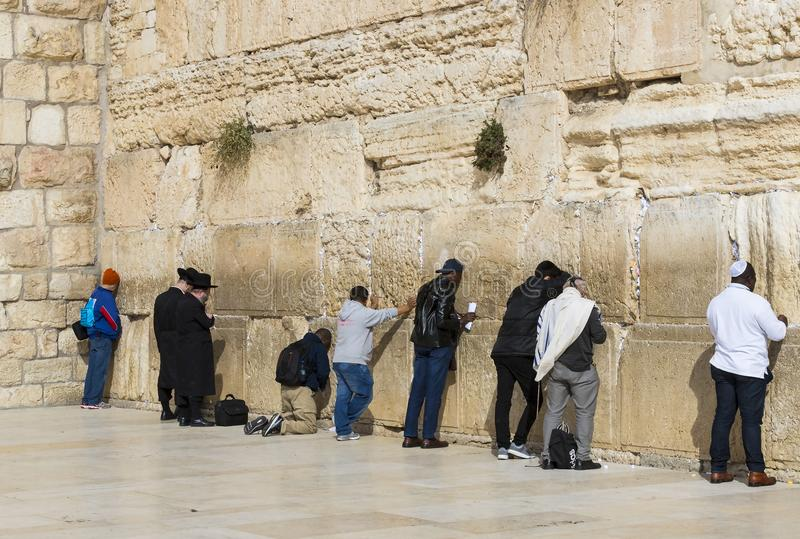 Pilgrims pray at the wall of the weeping of the holy place of the Jewish people and the center of worship of Christians around the. JERUSALEM, ISRAEL - 22 stock photos