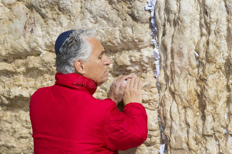 Pilgrims pray at the wall of the weeping of the holy place of the Jewish people and the center of worship of Christians around the. JERUSALEM, ISRAEL - 22 royalty free stock images