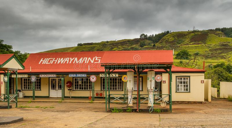 Pilgrims Rest, South Africa - historic gold mining town. Pilgrims Rest, South Africa - a vintage service and fuel station in the historic gold mining town in the royalty free stock image
