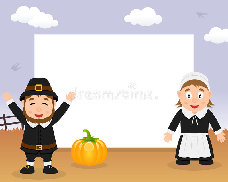 Pilgrims Thanksgiving Horizontal Frame royalty free illustration