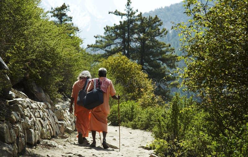 Pilgrims on trail. Two pilgrims on trail to sourse Ganga stock photography