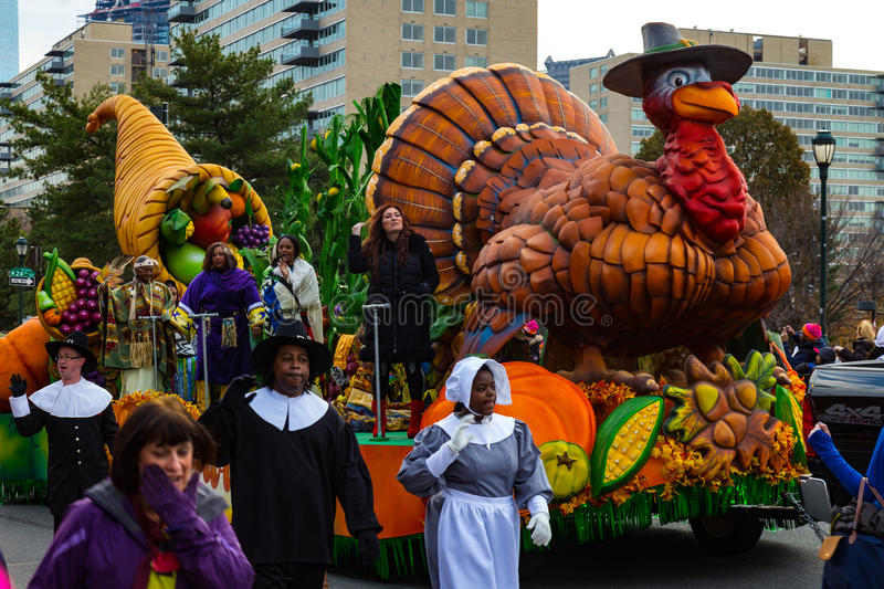 Pilgrims and Turkey Float Philly Thanksgiving Parade royalty free stock image