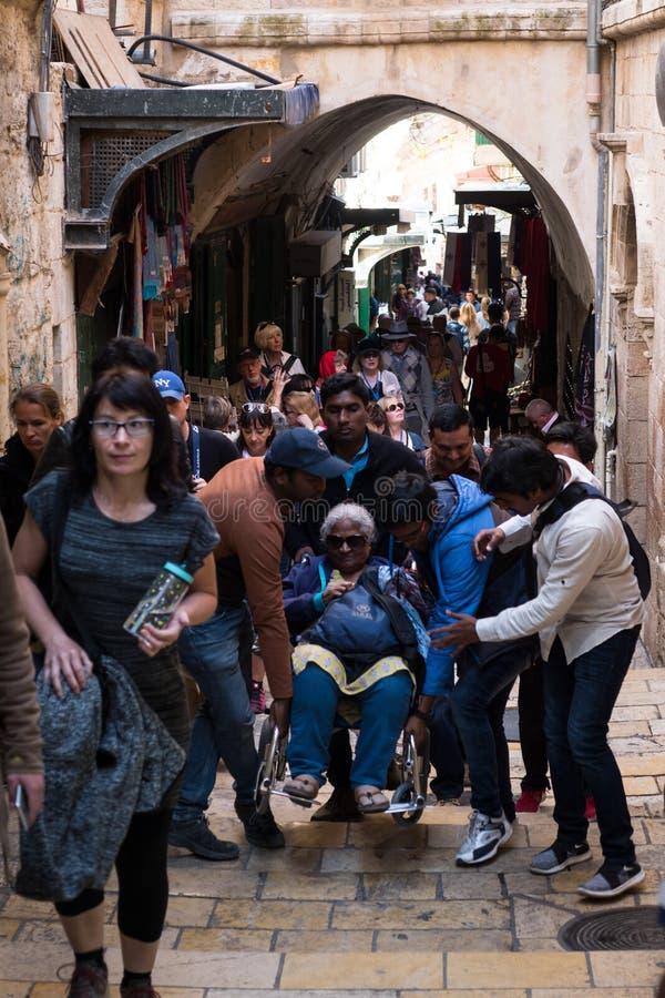 Pilgrims on the Via Dolorosa stock images