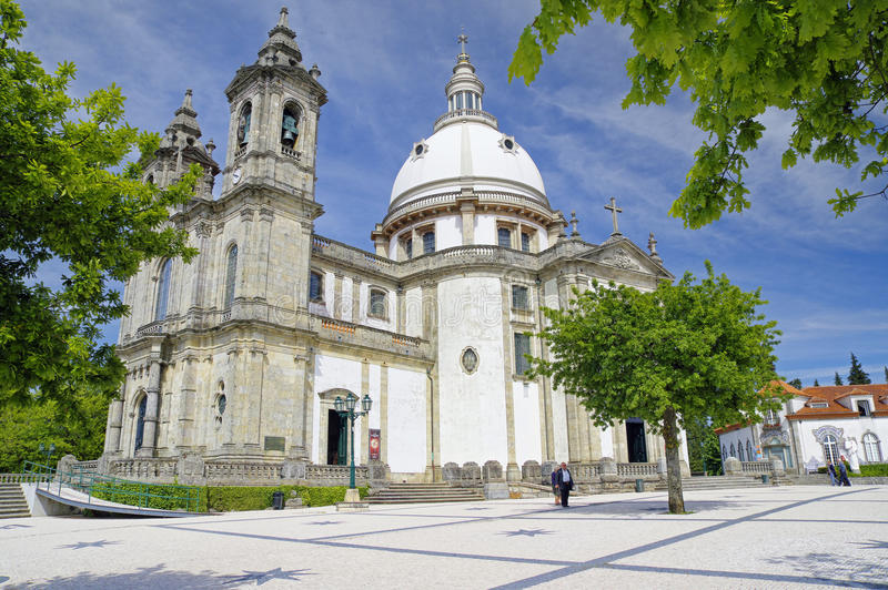 Pilgrims visit the Sanctuary of Our Lady of Sameiro in Braga on 23 April, Portugal royalty free stock images