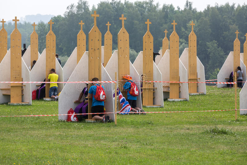 Pilgrims in Zone of Reconciliation at Sanctuary of Divine Mercy in Lagiewniki royalty free stock image