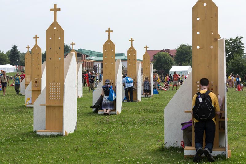 Pilgrims in Zone of Reconciliation at Sanctuary of Divine Mercy in Lagiewniki royalty free stock photo