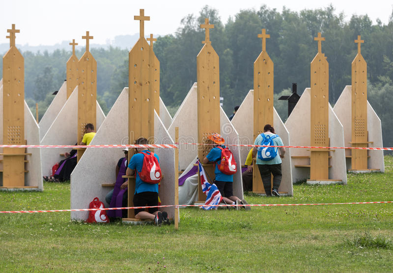 Pilgrims in Zone of Reconciliation at Sanctuary of Divine Mercy in Lagiewniki stock image