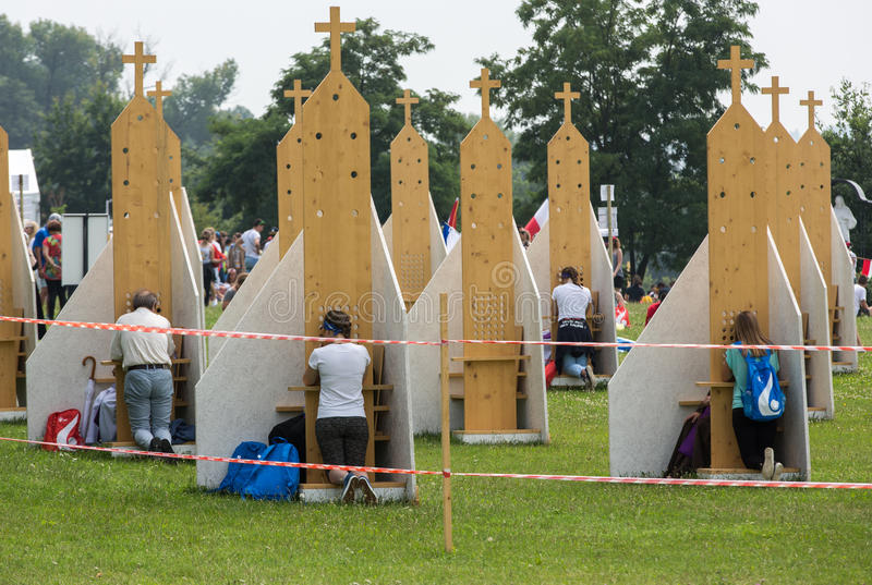 Pilgrims in Zone of Reconciliation at Sanctuary of Divine Mercy in Lagiewniki. stock photo
