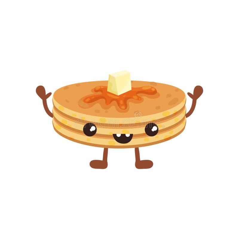 Pilha bonito de panquecas com cara de sorriso, ilustração engraçada do vetor do personagem de banda desenhada do fast food em um  ilustração royalty free