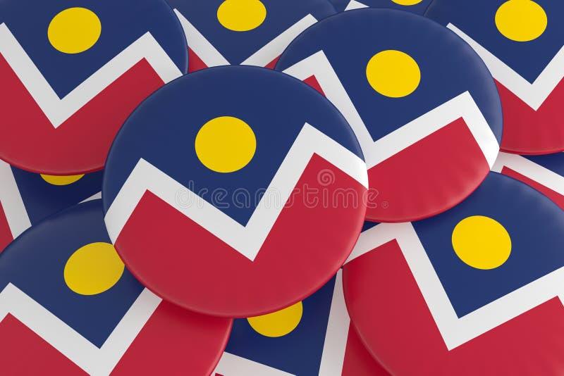 Pilha crachás da bandeira de Denver, Colorado, ilustração 3d ilustração stock