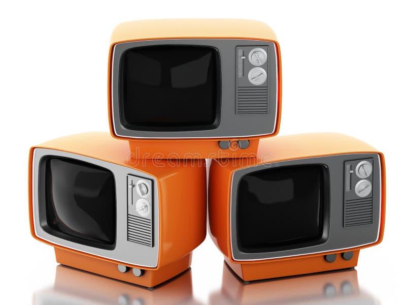 pilha 3d de aparelho de televisão retro ilustração stock
