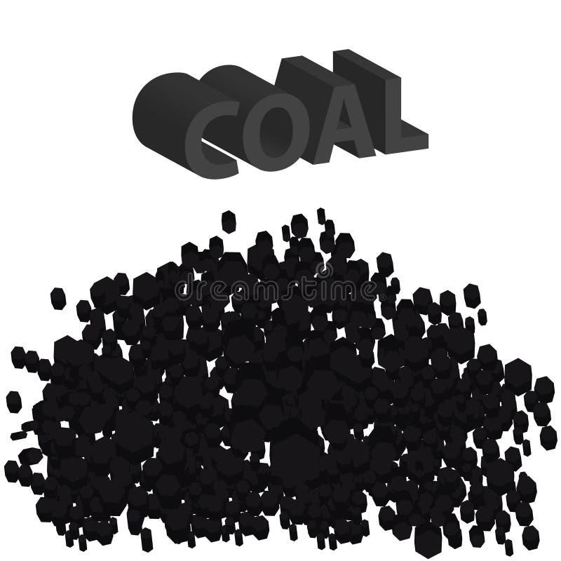 pilha 3D do carvão no fundo branco Materiais da indústria ilustração stock
