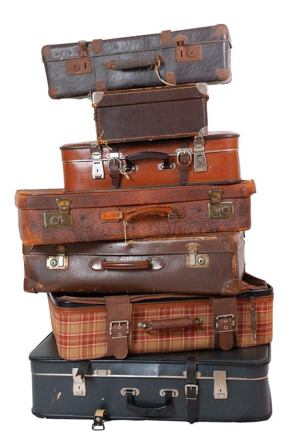 Pilha da bagagem do vintage fotografia de stock