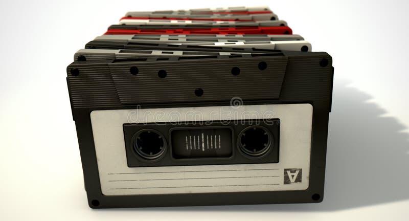 Pilha da cassete de banda magnética fotos de stock royalty free