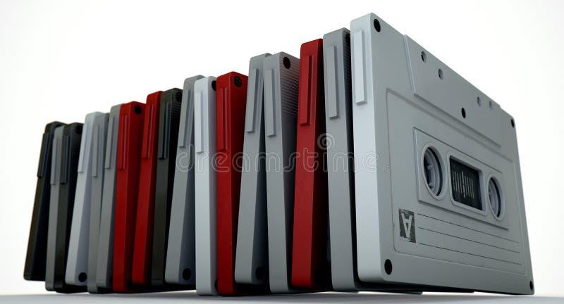 Pilha da cassete de banda magnética imagens de stock royalty free
