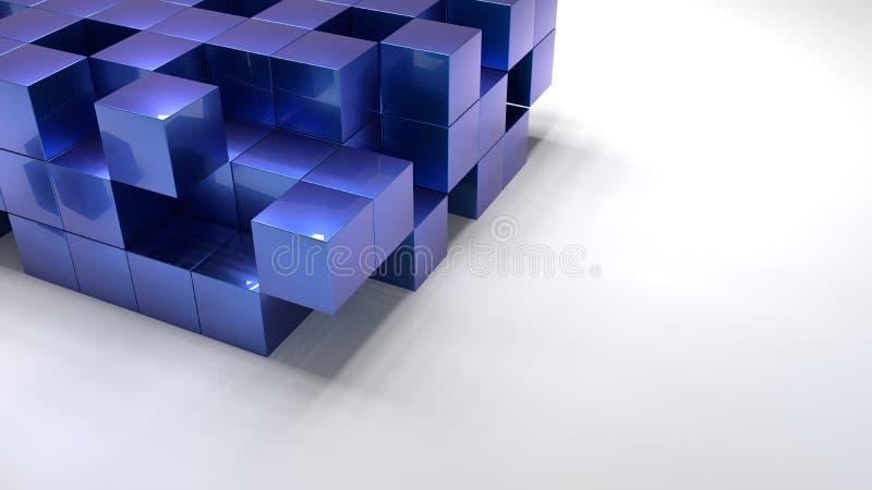 Pilha da estrutura metálica azul dos cubos no assoalho branco ilustração stock