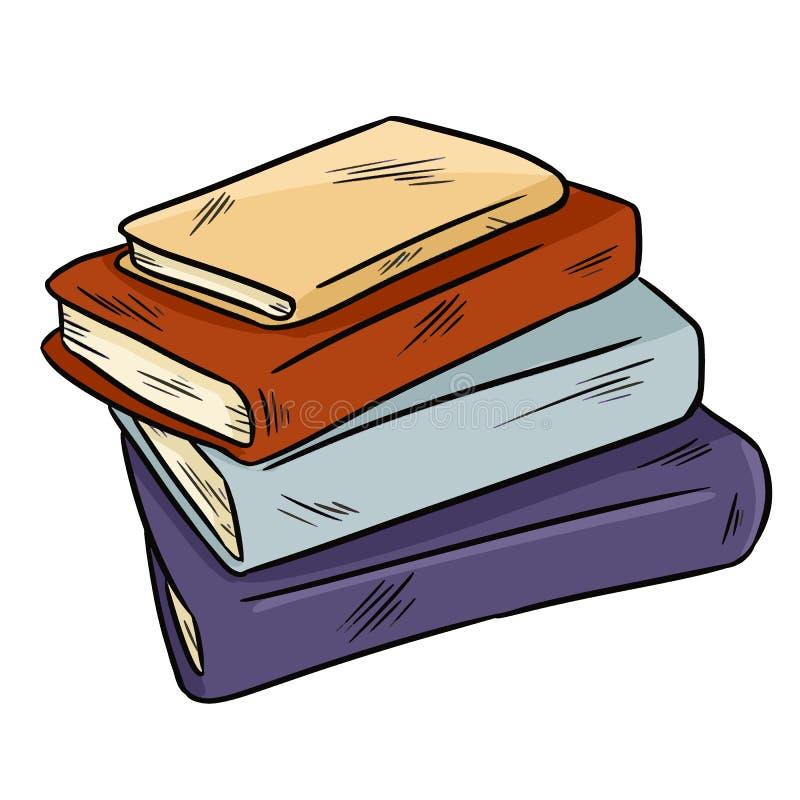 Pilha da garatuja bonito dos livros Projeto da etiqueta para planejadores e cadernos ilustração stock