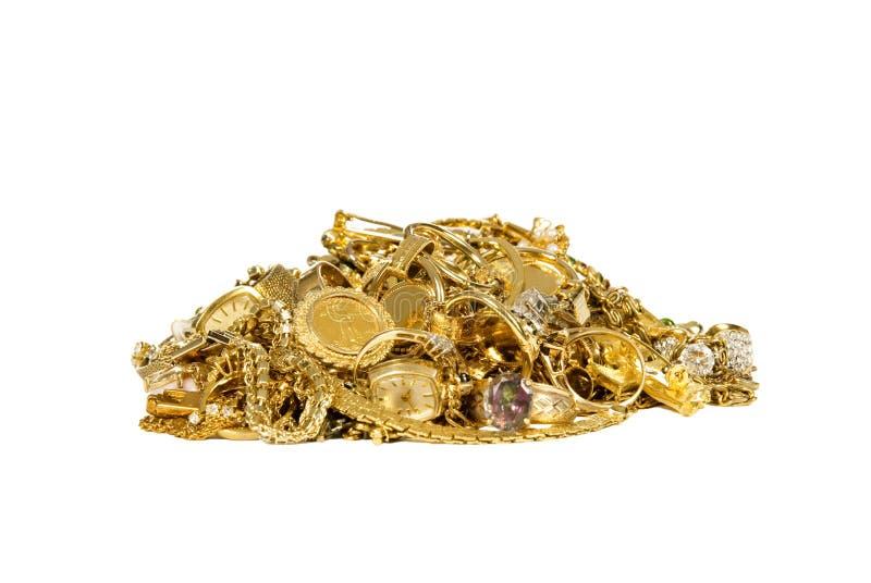 Pilha da jóia do ouro fotografia de stock royalty free