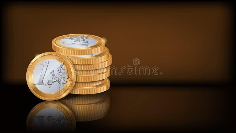 Pilha da moeda do Euro ilustração stock