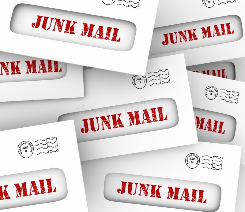 A pilha da pilha do correio não solicitado envolve o marketing direto que anuncia Lett ilustração stock
